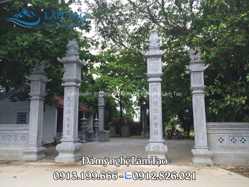 Cột đồng trụ Chùa Xuân Vũ, Ninh Vân bằng đá xanh Thanh Hóa tự nhiên, nguyên khối